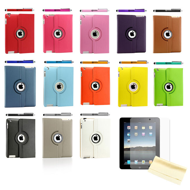 iPad 2 360 Rotating Magnetic Leather Case Smart Cover Stand Choose from 12 Color