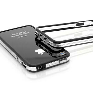iPhone-4-4S-Schutz-TPU-Huelle-Case-Handy-Tasche-Bumper-Design-transparent-schwarz