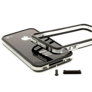 iPhone-4-4S-TPU-Bumper-Silikon-schwarz-Case-Schutz-Huelle-Cover-Schale-Tasche