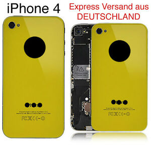 iPhone-4-Backcover-Akkudeckel-in-Gelb-Spitzen-Optik-Apple-NEU-Glas
