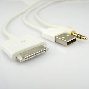 iphone 4 usb 3 5mm klinke aux auto kabel cinch adapter ebay. Black Bedroom Furniture Sets. Home Design Ideas