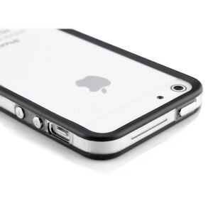 iPhone-5-5S-Bumper-Cover-fuer-Schutz-Huelle-Case-Transparent-Schwarz-Silikon-TPU