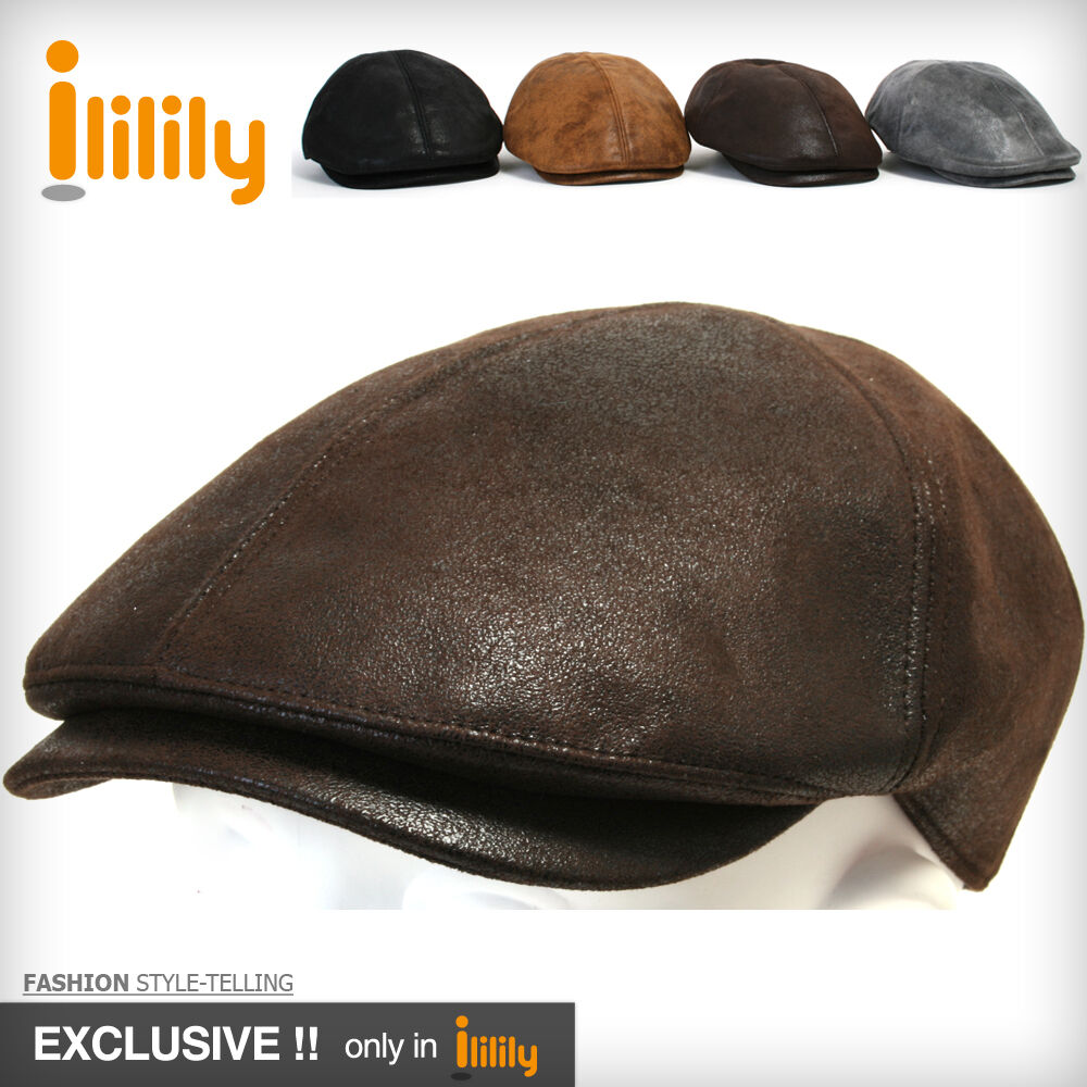 5041ec69 Mens Leather Gatsby Flat Ivy Cap Cabbie Hat Newsboy Caps 4D60 on ...