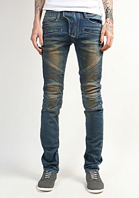 k-pop fashion stritch jeans motorcycle slim skinny jean bike pants for men 27-32
