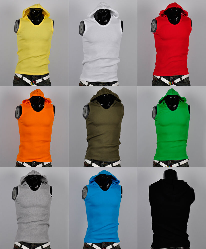 korea_pop mens Cotton sleeveless hooded gym athletic tank top A shirts 9Color