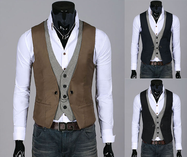ebay korea_top mens formal vest for men casual double layered Waistco dress vests jackets