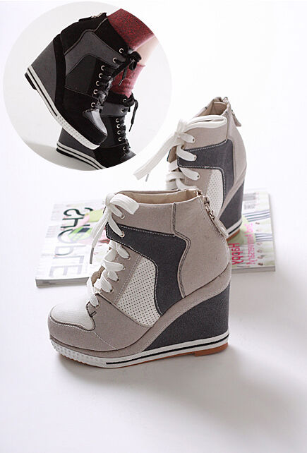 korea_pop womens suede sneaker platform high heels shoes lace ups casual wedge