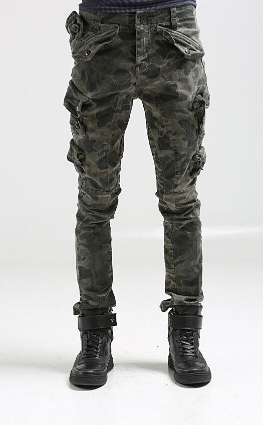 korea_top Mens mulit pockets cargo pants for men military camo baggy trousers