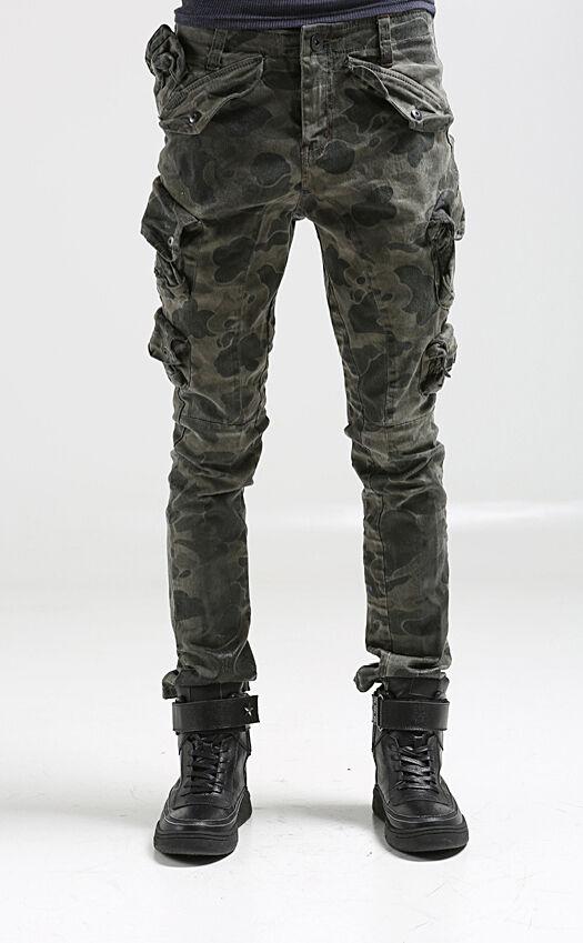korea_top Mens mulit pockets cargo pants for men military camo baggy trousers