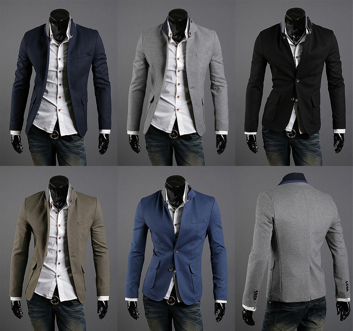 korea_top mens blazer jackets korean fashion two button coat slim suit XS S M L