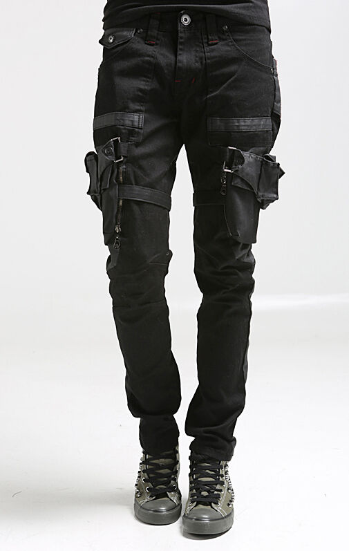 korea_top mens designer utility baggy pants for men slim trousers