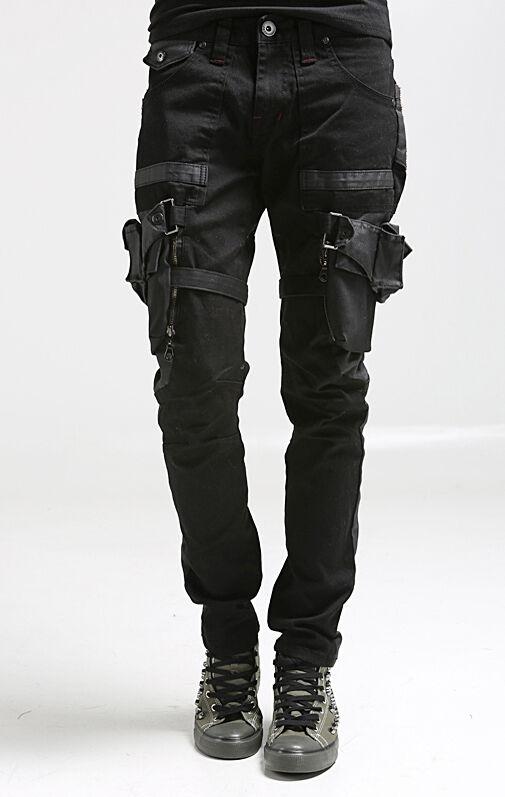 korea_top mens designer utility baggy pants for men slim trousers