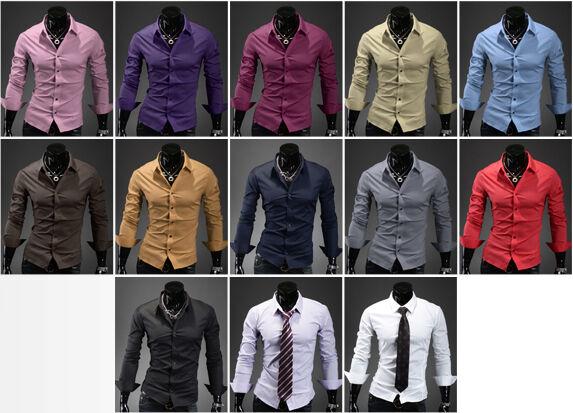 korea_top mens slim fit solid shirts for men casual t shrits XS S M L XL 2XL