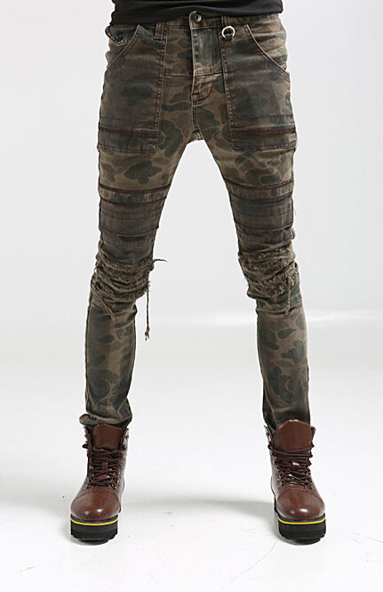 korea_top mens split camo motorcycle bike pants for men military wash trousers