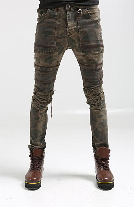 korea_top mens split camo motorcycle bike pants for men military wash trousers
