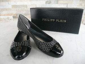 luxus-PHILIPP-PLEIN-Gr-37-Ballerinas-Slipper-Schuhe-shoes-Nieten-schwarz-NEU
