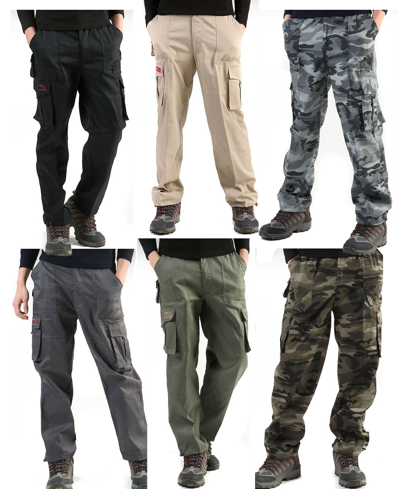 mens camouflage camo combats Workwear work army cargo trousers military Pants