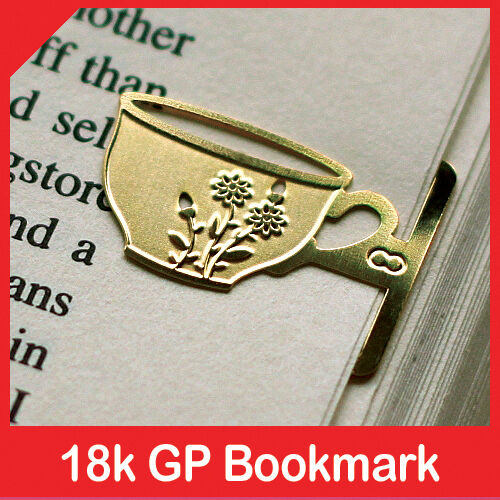 mini Flower Design Tea Cup 18k gold plated bookmark for teatime vintage style in Books, Accessories, Bookmarks | eBay