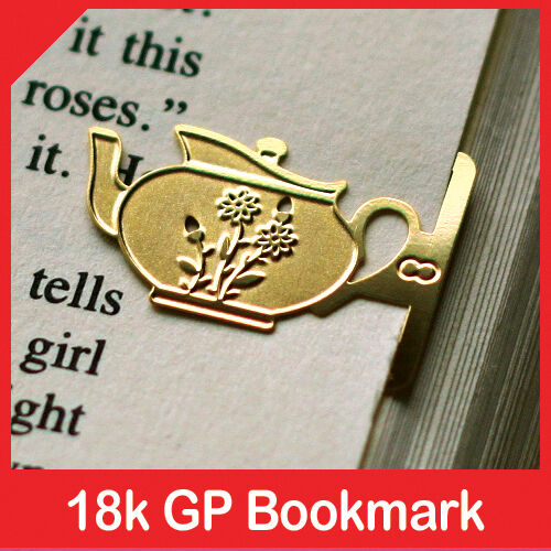 mini Flower Design Tea Pot 18k gold plated bookmark for teatime vintage style in Books, Accessories, Bookmarks | eBay