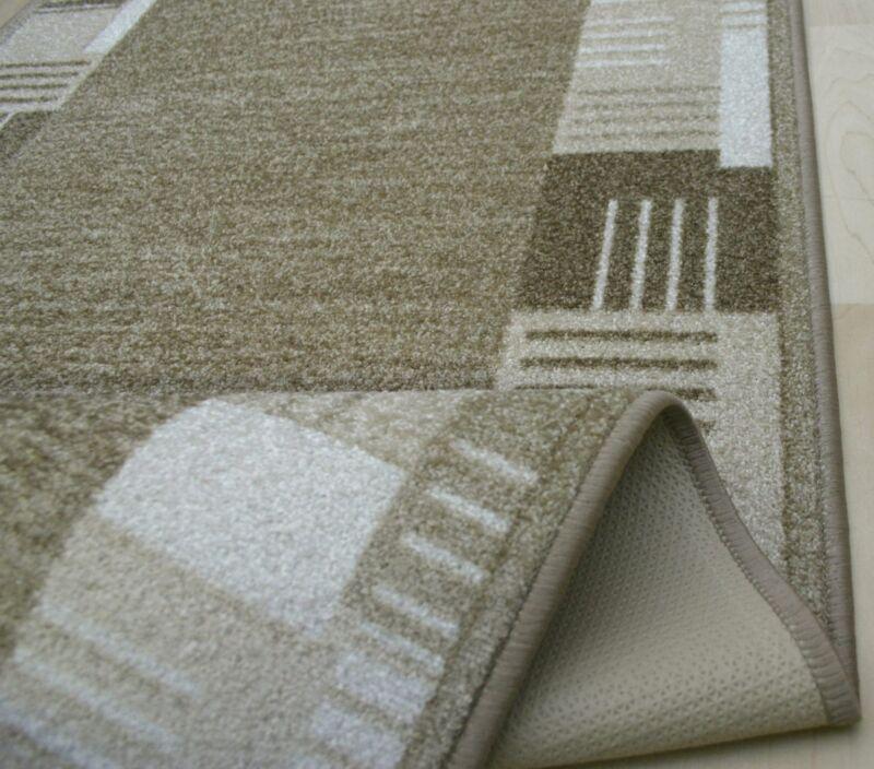 moderner velours teppich l ufer medina 33 sand beige 80 cm breit neu rutschfest ebay. Black Bedroom Furniture Sets. Home Design Ideas