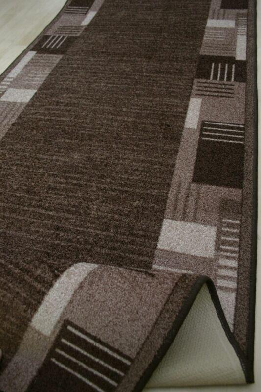 moderner Velours Teppich Läufer *MEDINA 44 braun 67 cm breit NEU ...