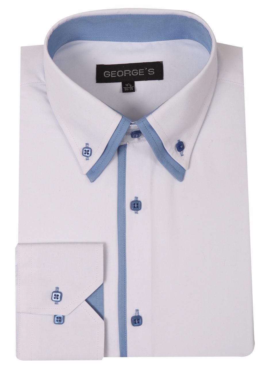 New Mens 39 Dress Shirt Double Collar Two Toned Italian