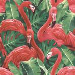 Noordwand Papier peint Flamingo and Monstera Rouge