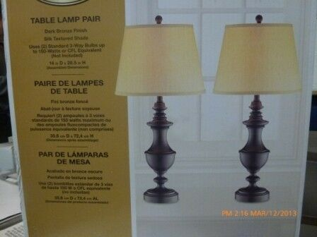 pair 2 Hampton Bay table lamps Dark Bronze metal w/ shades living room NEW in Antiques, Decorative Arts, Lamps | eBay