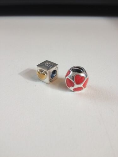 pandora charm red heart love you heart 790543en17 i love you cube heart 790200 in Crafts, Beads & Jewelry Making, Beads, Pearls & Charms | eBay