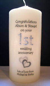 ... 1st first wedding anniversary candle gift for couple, wife, husband