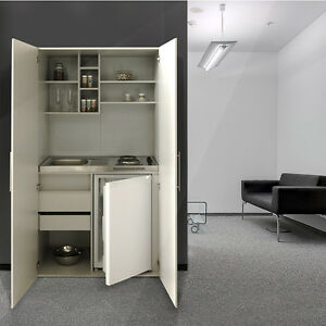 respekta single b ro pantry mini schrank k che minik che schrankk che silber ebay. Black Bedroom Furniture Sets. Home Design Ideas