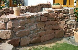 rote steinmauer steine mit geraden seiten f r trockenmauer roter sandstein ebay. Black Bedroom Furniture Sets. Home Design Ideas