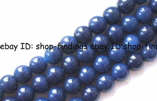 "round blue Agate smooth loose Beads 15"" 6mm,8mm,10mm,12mm,14mm,16mm,18mm in Jewelry & Watches, Loose Beads, Stone 