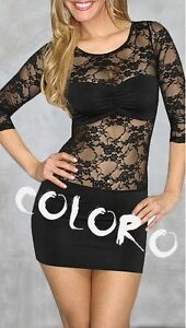 Lace Black Dress on Sexy Black Lace See Through Dress Night Club Party Wear   Ebay