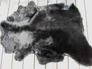 sheepskin leather hide skin fur pelt hides JET BLACK THICK HAIRED in Crafts, Home Arts & Crafts, Leathercraft | eBay