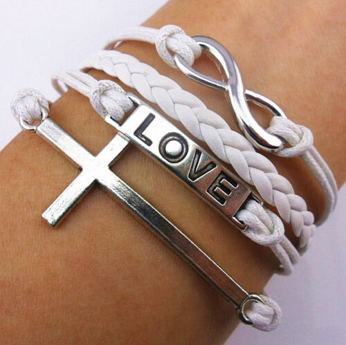silver infinity antique silver karma cross love white rope leather bracelet