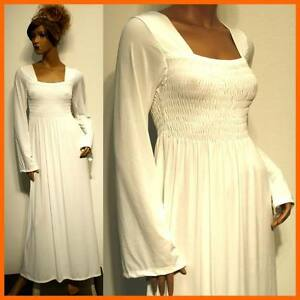 Long Sleeve White Dress on New Off White Winter Vtg Evening Woman Long Sleeve Maxi Dress   Ebay