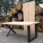 Table chene planche plateau massif LIVE EDGE pieds metal