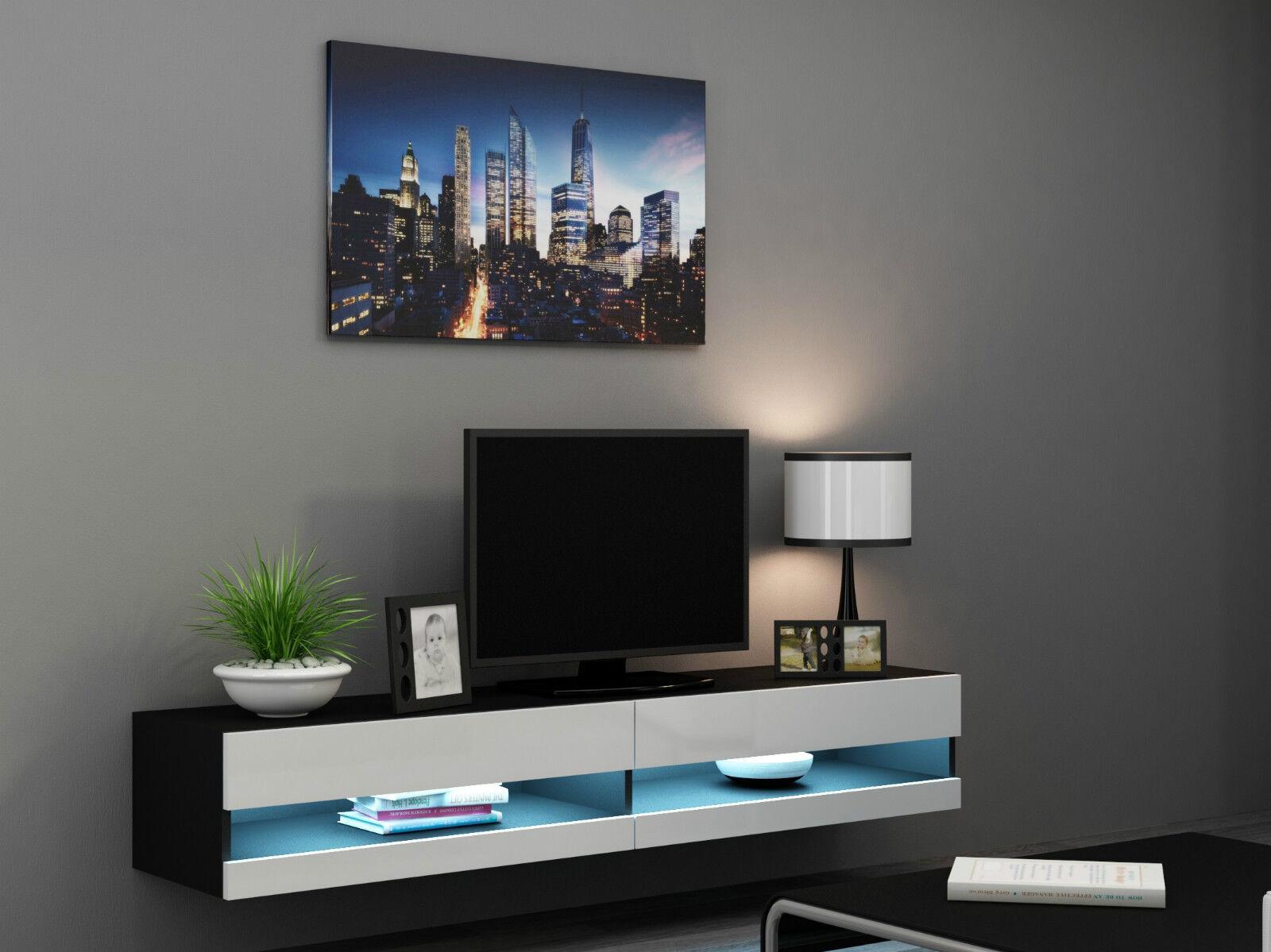 tv wall unit tv stand floating bench vivo new ebay. Black Bedroom Furniture Sets. Home Design Ideas