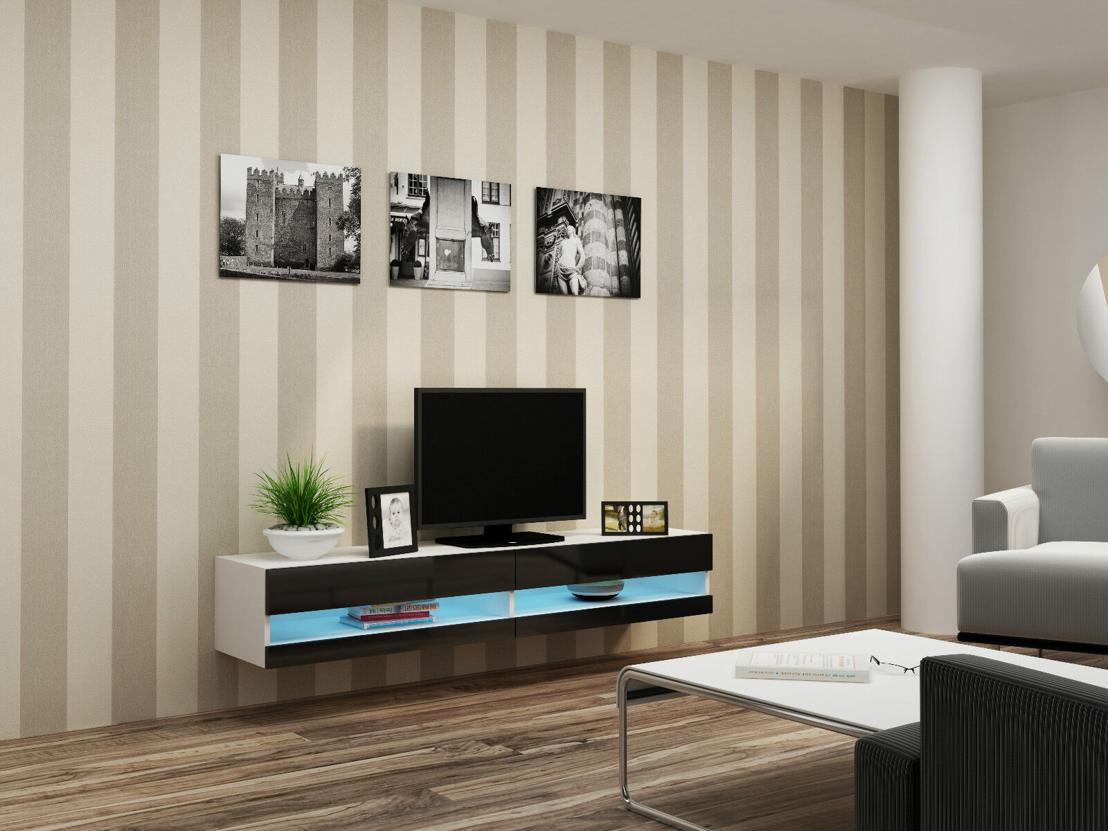 """TV WALL UNIT TV STAND FLOATING BENCH """"VIVO NEW"""""""