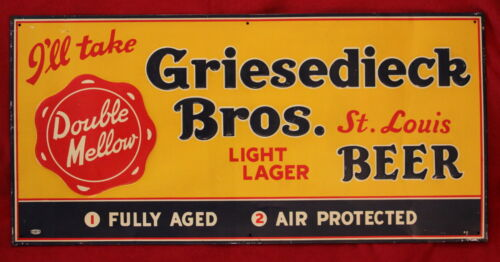 vintage GRIESEDIECK BROTHERS Light Lager Beer tin sign old ST. LOUIS brewery in Collectibles, Breweriana, Beer, Signs, Tins | eBay