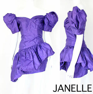 Prom Dress on Vtg 80s 90s Purple Avant Garde Pouf Peplum Asymmetric Party Prom Dress