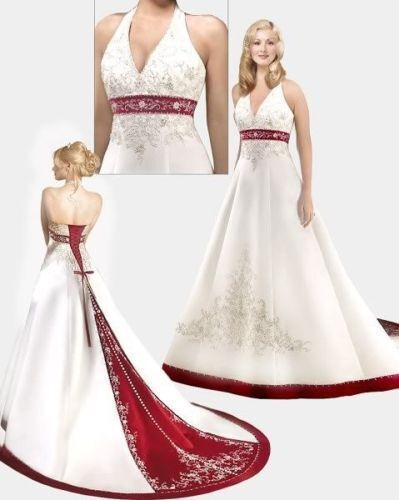 Wedding dress white red size 8 10 12 14 16 18 20 22 24 ebay for Ebay wedding dresses size 12