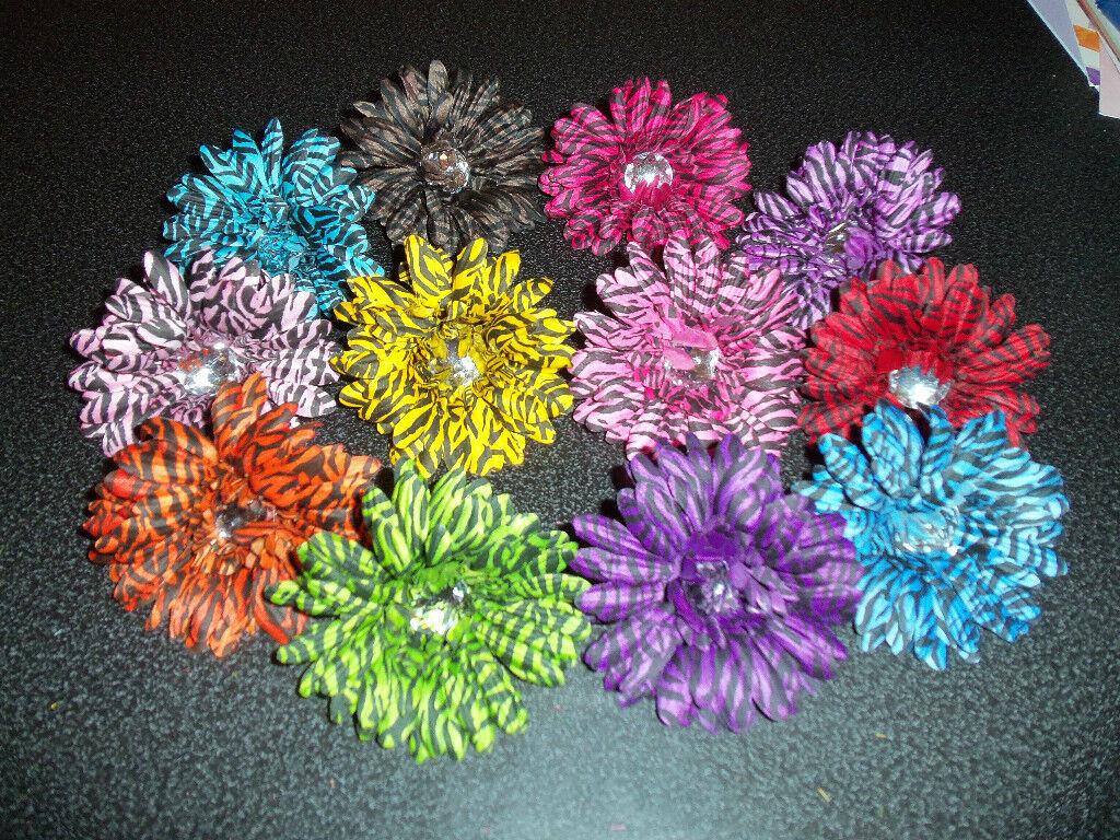 lot 12 ZEBRA STRIPE gerber daisy FLOWER hair bow baby or girls pin up