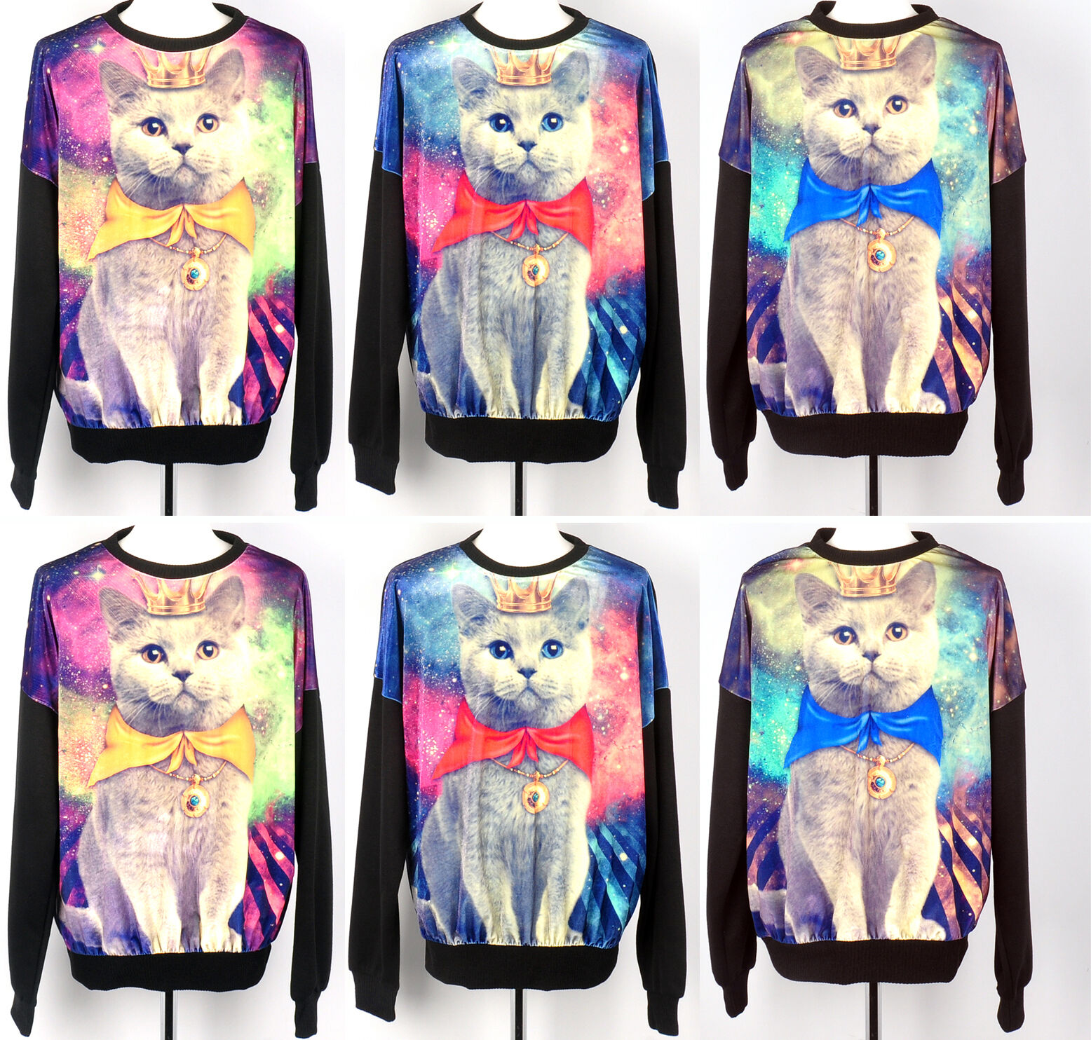 womens Galaxy cat t shirts loose stellar velvet graphic shirt long sleeve red