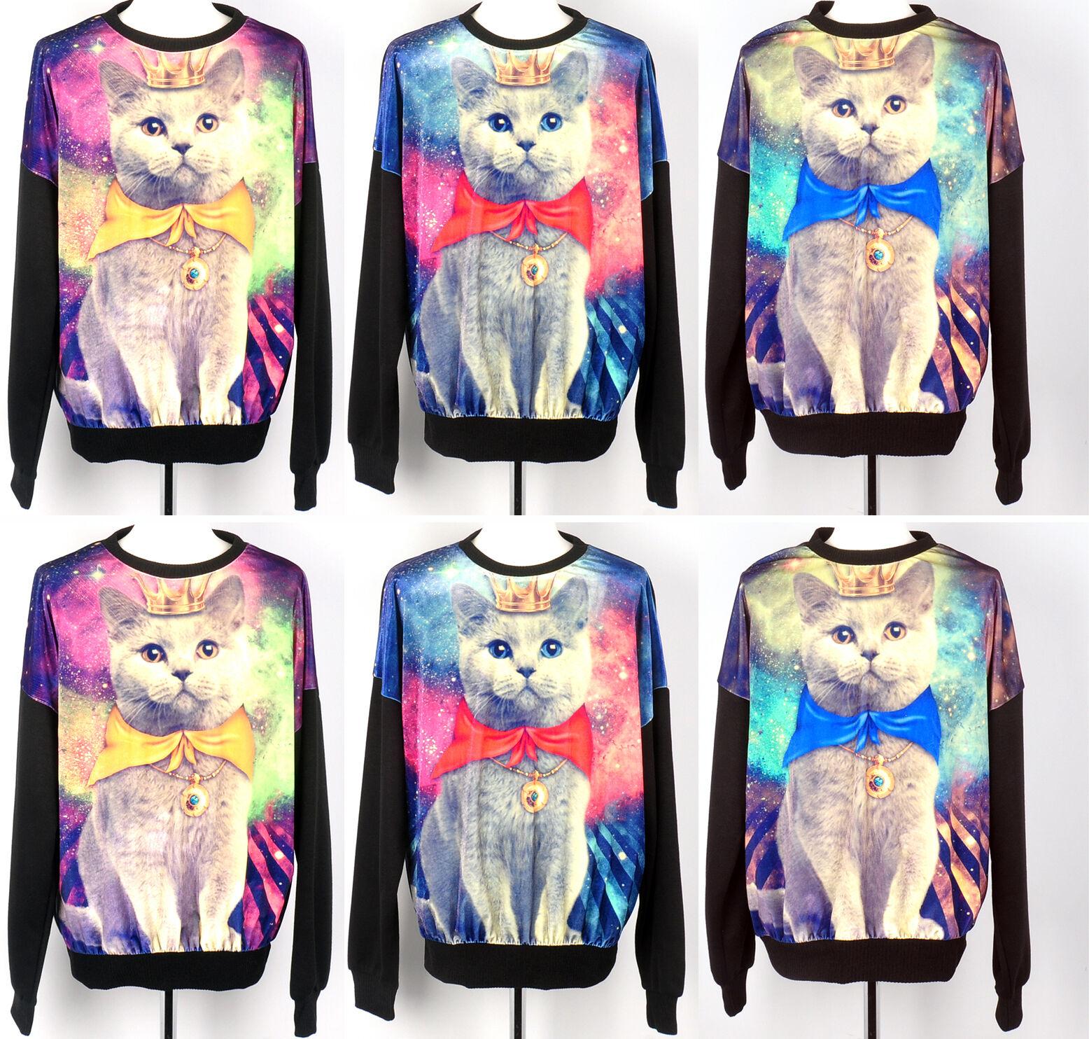 womens Galaxy cat t shirts loose stellar velvet graphic shirt long sleeve red