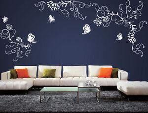 wpf25 wandtattoo ranke blumen blumenranke schmetterlinge wandfolie wallsticke ebay. Black Bedroom Furniture Sets. Home Design Ideas
