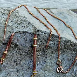 wunderschoene-Bronzekette-m-Messingkuegelchen-55cm-Lang-Bronze-Kette-Schlange