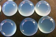 A PAIR OF 5mm ROUND CABOCHON-CUT PASTEL-BLUE NATURAL INDIAN CHALCEDONY GEMSTONES