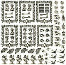 ANTIQUE (76 pcs) Die-Cut Shapes ALTERED ART Collage ATC CARDS fans KEYS birds